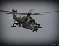 MI-24 Hind in the clouds