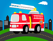 ILLUSTRATIONS : Firetruck, owls and robots