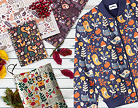 Seamless autumn pattern with fox, bear, plant, leaves