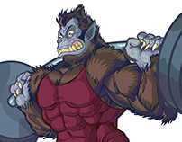 Weightlifting Beast Man Mascot Vector Illustration