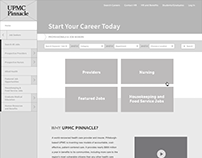 UPMC Pinnacle Health career site wireframes.
