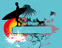 surfer graphic design vector art