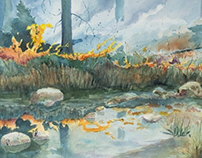 Fire on the Water.  Watercolor on paper