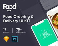Food Ordering & Delivery UI kit 17 Sketch - PSD Templ