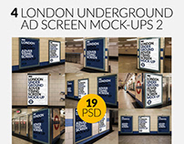 4 London Underground Screen Mock-Ups Bundle 2