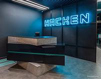 Photoshoot of interior design of Hacken office in Kyiv