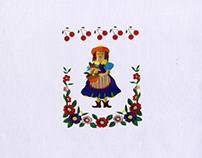 FLOWERS AND FRUITS COLLECTING GIRL EMBROIDERY DESIGN