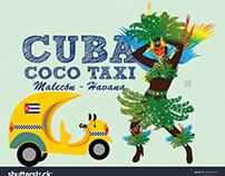 Cuba coco taxi graphic design vector art