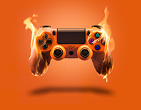 Video Game Controller On Fire