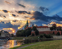 Timelapse of a sunrise with Wawel - Castle in Cracow