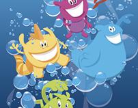 Cartooncharacters for a Dutch swimming school