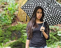 Kaath Ciiprian and her spotted umbrella