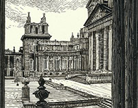 SCRATCHBOARD OF BLENHEIM PALACE