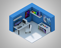3D Isometric Low-Poly Room