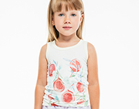 Textile design. Watercolor sleeveless tee