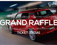 Raffle tickets for a Suzuki Car Dealership