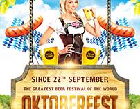Oktoberfest festival poster, PSD template