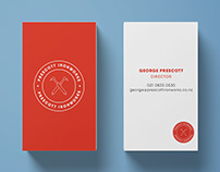 Red & White Logo & Business Cards - Prescott Ironworks