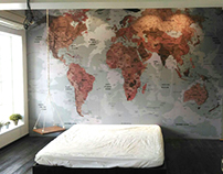 Vintage World Map Wall Graphics ( Vinyl Print )