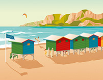 Cape Town South Africa Retro Travel Poster Illustration