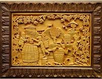 "Wall Art Wood carving ""Vine harvest"" MariyaArts"