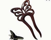 Wooden Hair Fork Hair Stick Black Butterfly MariyaArts