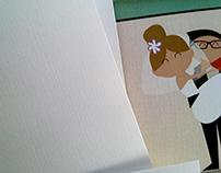 Caricatures in Polaroid Wedding Invitation