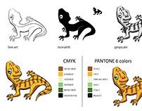 Gekon - znak graficzny identyfikacji. Logo.