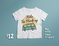 Crew Neck T-shirt Mock-up Kids Version PSD