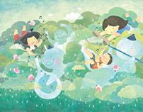 CLOUD PARTY(children's book illustration)