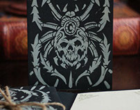 Black Spider - Block Printed Halloween Cards