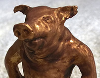 golden pig Christmas present - inject mould cast model