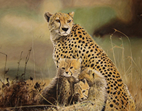 `Cheetah with her cubs'