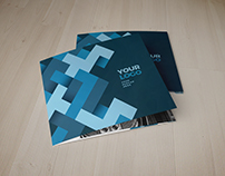 Square Modern Blue Pattern Trifold
