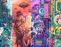 Retrofuturism Punks 「復古未來主義」插畫, 設計