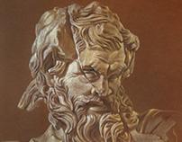 Zeus, antique marble sculpture.