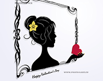 silhouette woman's portrait in the frame , valentine's