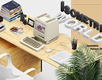 Isometric Vintage Office Mockup