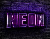 Purple neon text effect