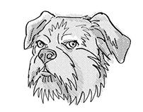 Brussels Griffon Dog Breed Cartoon Retro Drawing