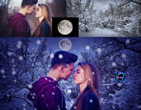 Snow effect with lovers