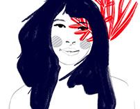 Water girl. Seaweed. Navy hair. Woman illustration