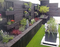 Terrace / garden with recycled wood construction