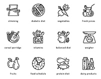 Healthy Diet Vector Icons. Rational Nutrition Concept.
