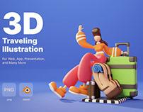 3D Traveling Illustration
