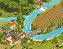 Isometric drainage basin - Bassin versant isometrique