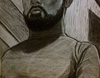 self portrait on mirror from angle charcoal on paper