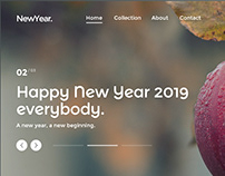 New Year 2019 - web template - design concept.
