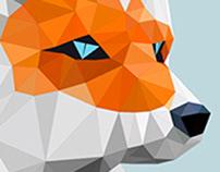 Low poly snow fox