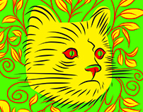 Organic Yellow Cat vector draw (Updated)